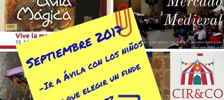 Eventos infantiles Septiembre 2017 en Avila